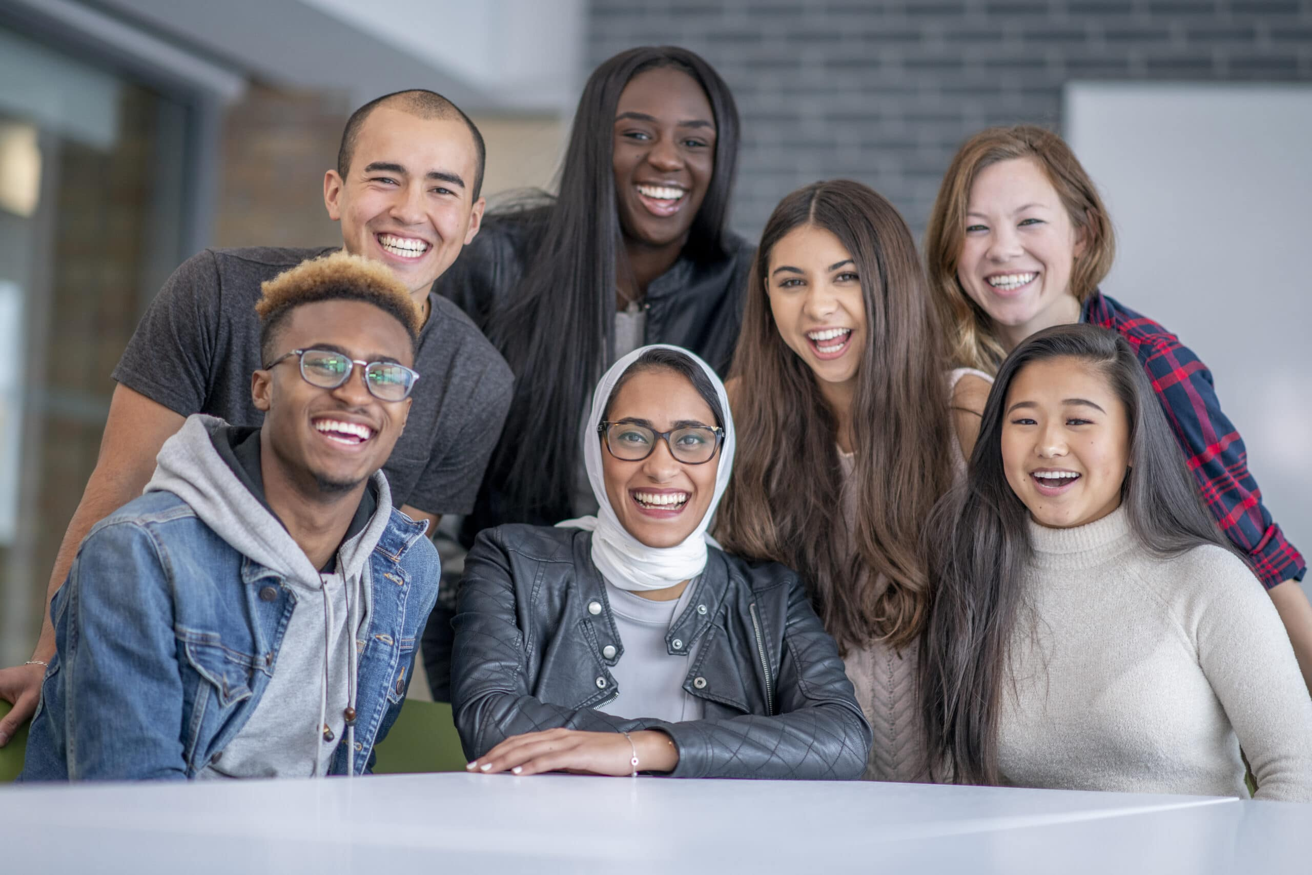 Diverse group of university students